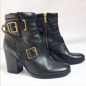 Kurt Geiger Leather ankle black boots & gold 6